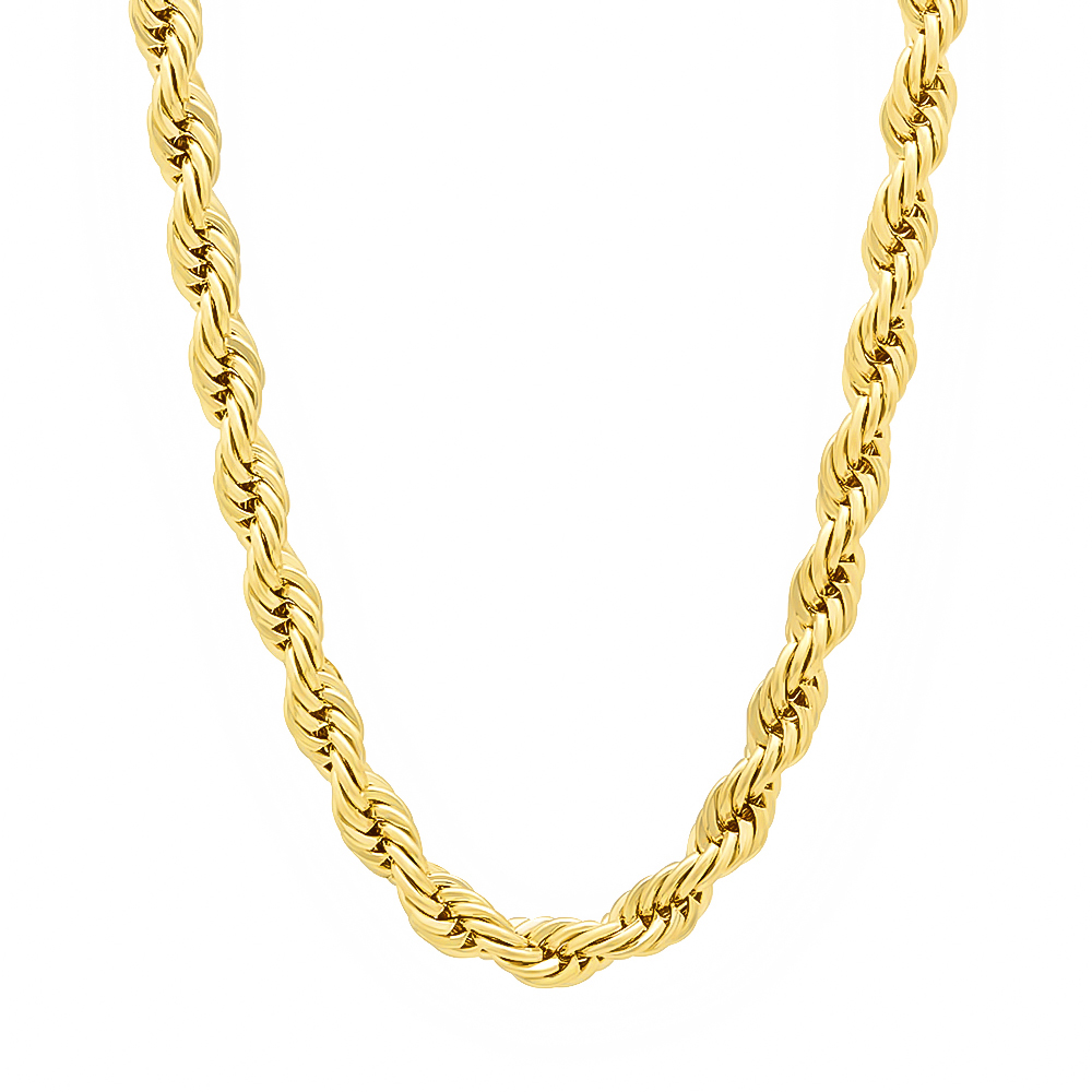 5mm 14k Gold Plated Rope Chain Necklace + Microfiber Jewelry Polishing Cloth XQuKq