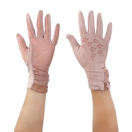 Women Summer Car Driving Lace Full Finger Thin Sun Protection Gloves Pink Pair](Girls Lace Gloves)