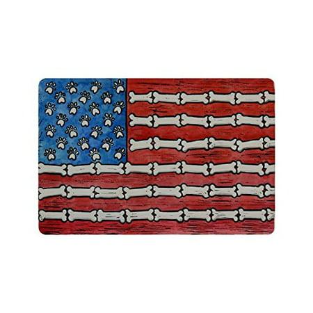 WinHome Stylish Dog Paws and Bones American Flag Doormat Floor Mats Rugs Outdoors/Indoor Doormat Size 23.6x15.7 inches