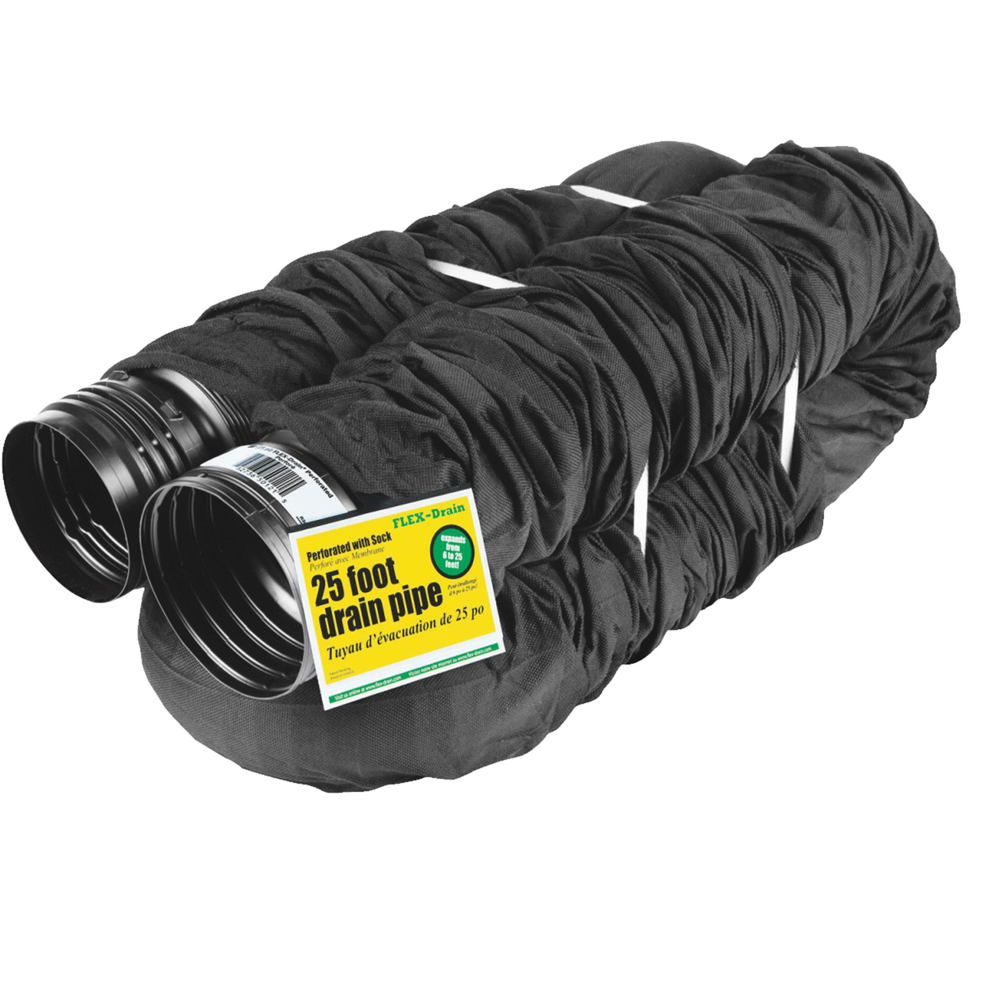 Amerimax FLEX-Drain 4 In. Expandable Perforated Drain Pipe With Sock