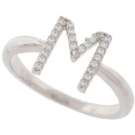- 18kt White Gold-Plated Sterling Silver M Initial Stackable Ring with Crystal Swarovski