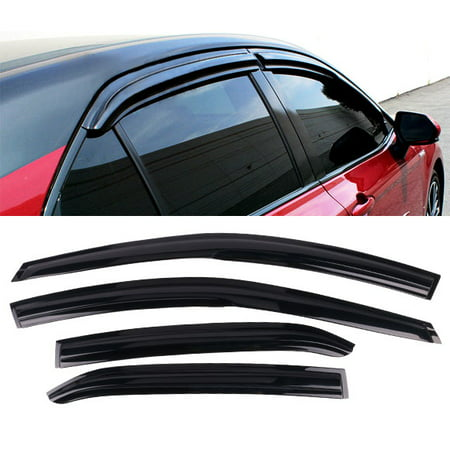 All American Auto Dark Smoke Acrylic Side Window Deflector/Visor 4-Piece Set for 2018-2019 Toyota Camry