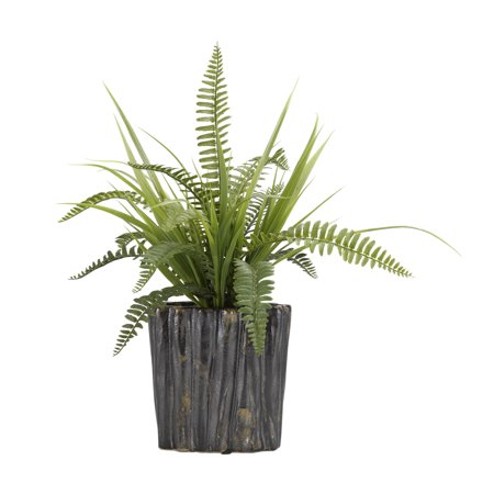 D W Silks Boston Fern And Wild Grass In Oval Ceramic Planter Walmart Com Walmart Com