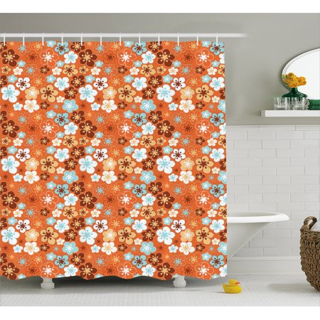 Orange Shower Curtain Cute Old Fashioned Doodle Flora Abstract Blooming Meadow In Summer Theme