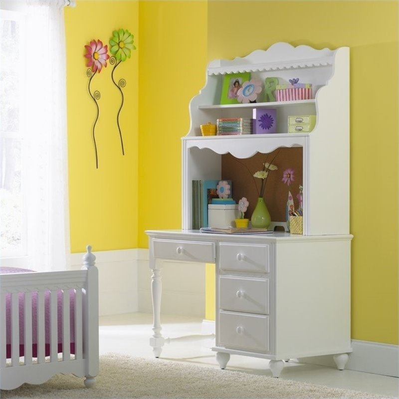 Rosebery Kids Children's Wood Desk with Hutch in White