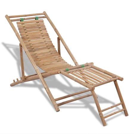 vidaXL Outdoor Deck Chair with Footrest Bamboo ()