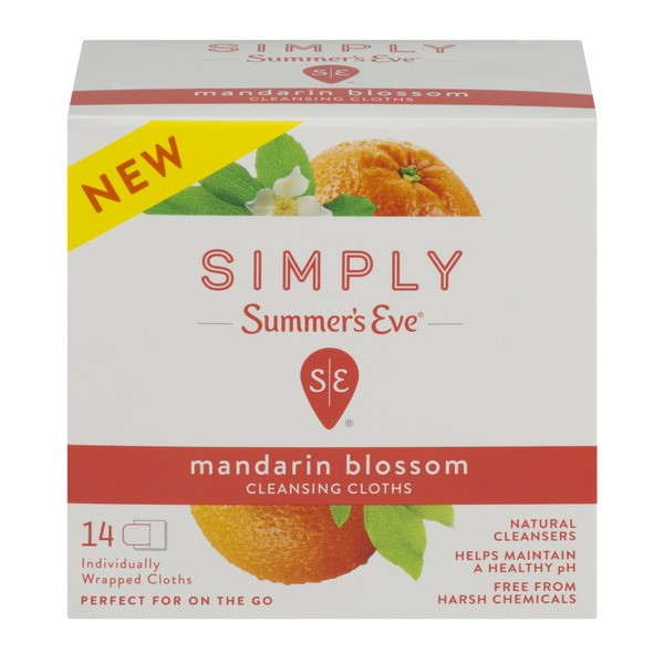 Summer's Eve Simply Cleansing Cloths, Mandarin Blossom, 14 Ct