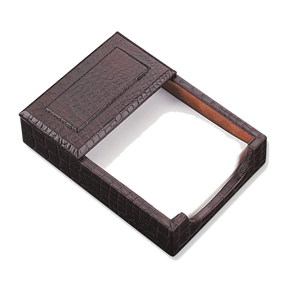 Bey-Berk International D1412 4 x 6 in. Brown Croco Leather Memo Holder by Bey Berk