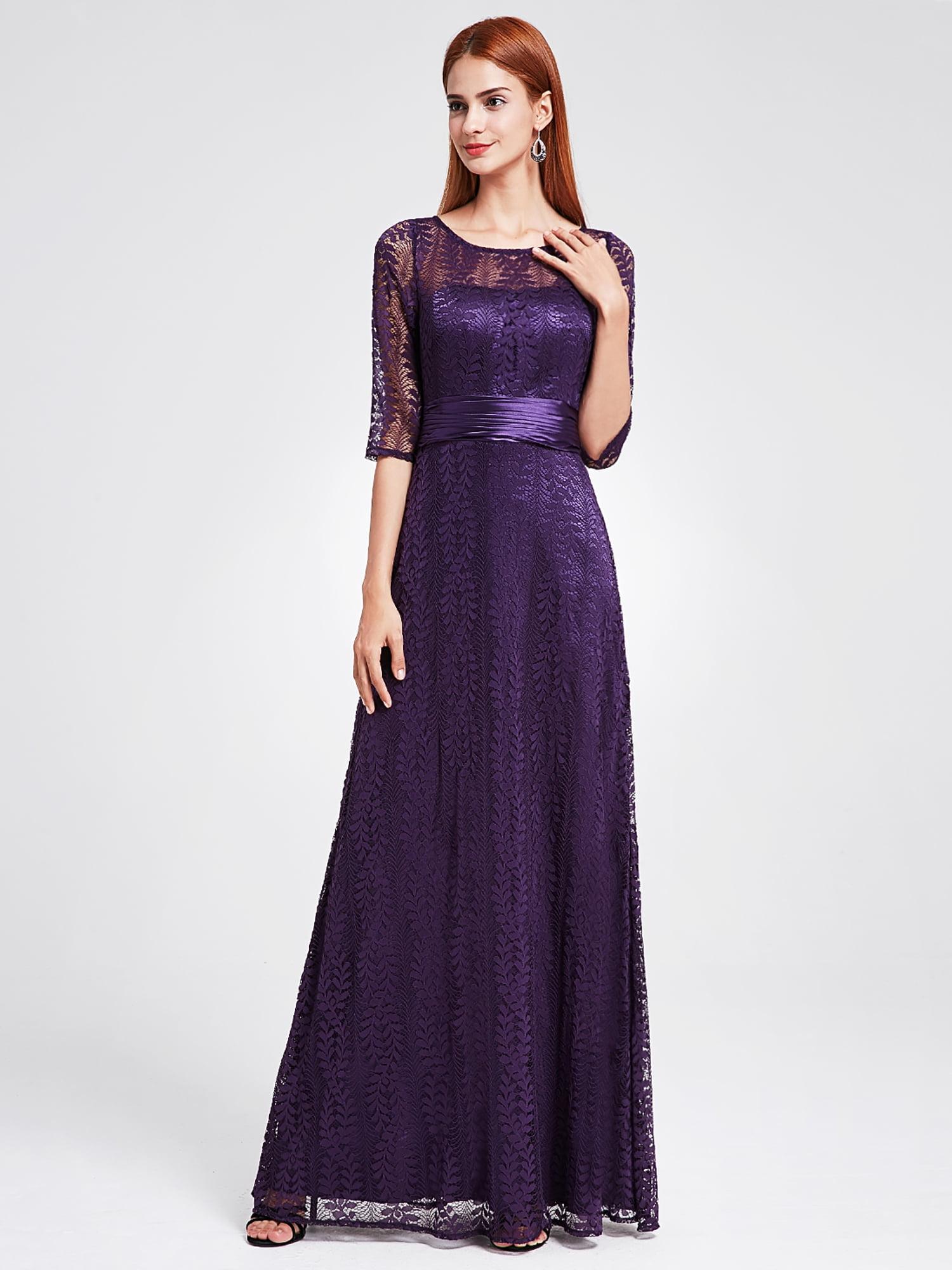 c9ff196ec2a Ever-Pretty - Ever-Pretty Women s Elegant Lace Long Sleeve Summer Wedding  Guest Bridesmaid Maxi Dresses 08878 for Women Purple 16 US Plus Size -  Walmart.com