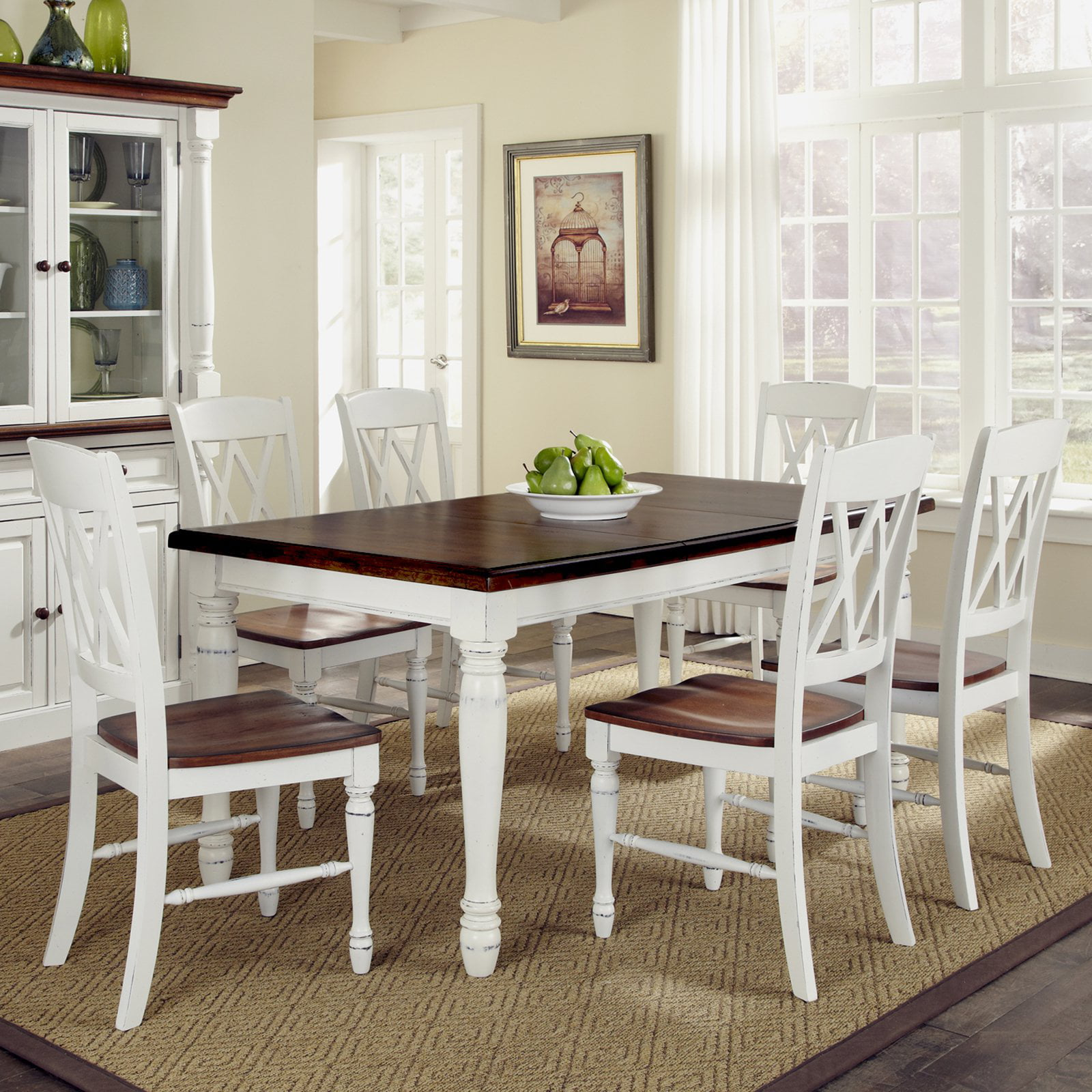 Home Styles Monarch Rectangular Dining Table and 6 Double XBack
