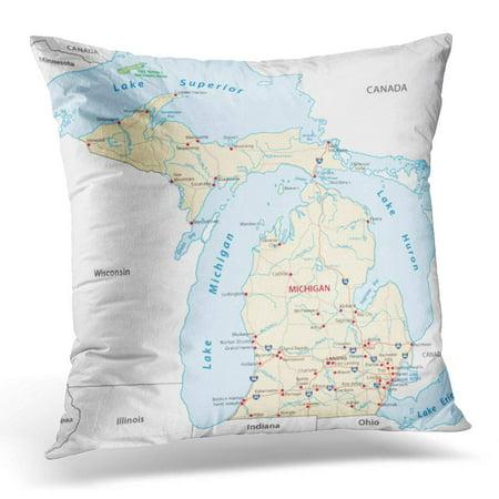 BOSDECO Detroit Michigan Road Map Lansing Pillowcase Pillow Cover Cushion Case 16x16 inch - image 1 de 1
