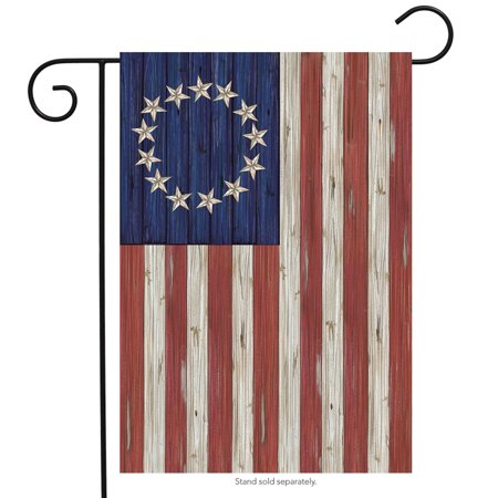 "betsy ross flag patriotic garden flag rustic 4th of july 12.5"" x 18"""