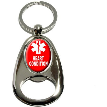 Heart Condition, Medical Emergency, Star of Life, Chrome Plated Metal Spinning Oval Design Bottle Opener Keychain Key