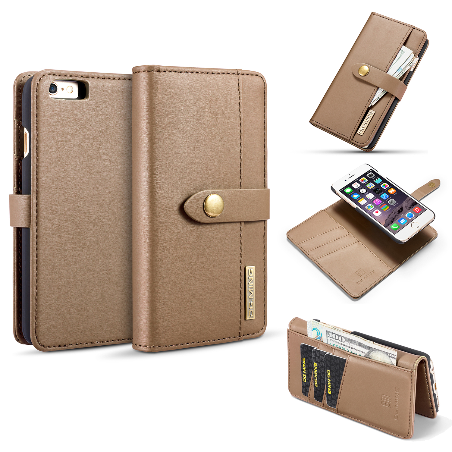 iPhone 6 Plus Case, iPhone 6S Wallet Case, Allytech Vintage Leather Folio Flip Cards Slots Magnetic Detachable Cover Anti-Slip Kickstand Money Pocket Wallet Case for Apple iPhone 6 / 6S Plus, Brown
