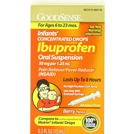 Good Sense Infant's Concentrated Drops Ibuprofen Oral Suspension, Berry Flavor 0.50 oz - Good Sense Ibuprofen