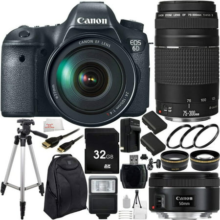 f154636dab Canon EOS 6D DSLR Camera Triple Lens Kit with Canon 24-105mm, 75-300mm f/4.0 -5.6 III & 50mm ...