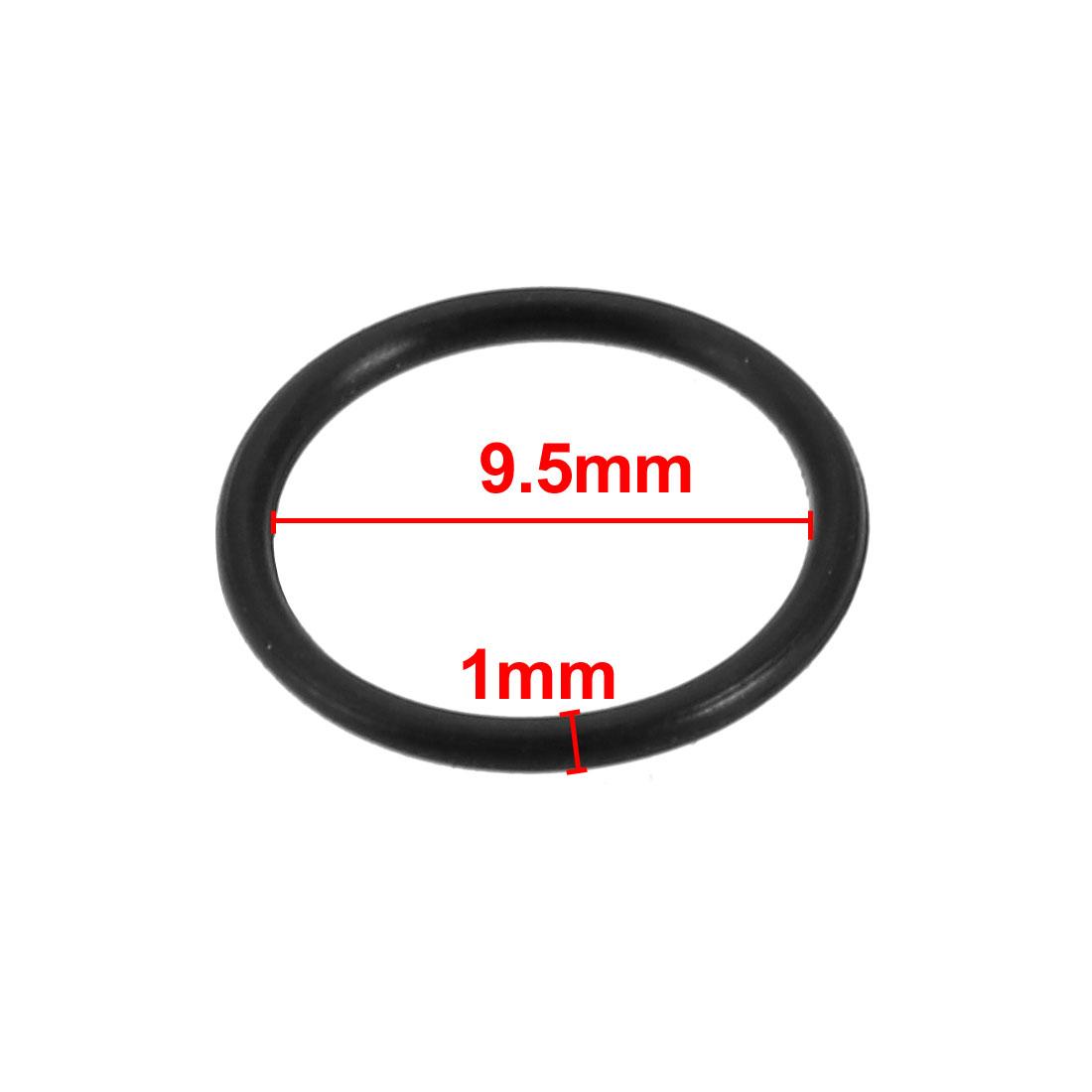 5pcs Black Nitrile Butadiene Rubber NBR O-Ring 9.5mm Inner Dia 1mm Width - image 1 de 2