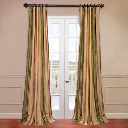 Half Price Drapes PTSCH-52012-108 Faux Silk Taffeta Stripe Curtain, Mirage