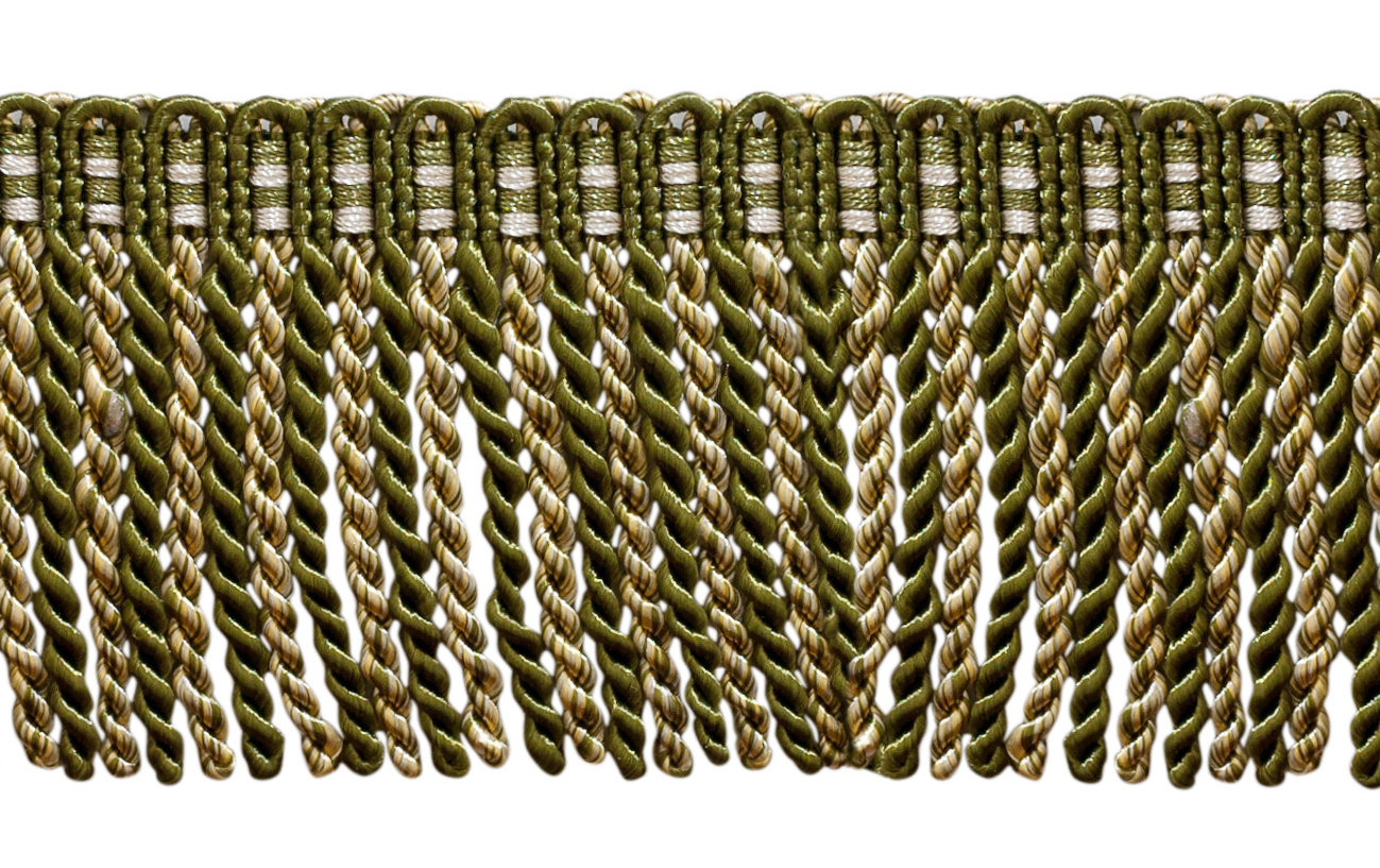 16 Ft // 5 Meters Style# DB3 Olive Green White 5.4 Yard Value Pack of 3 Inch Long Bullion Fringe Trim Olive Garden 010 Light Gold