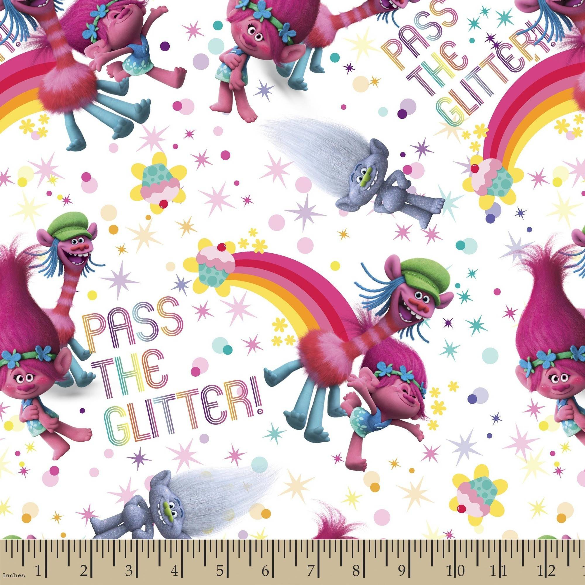 "Trolls Pass The Glitter, 43/44"" Width, Fabric by the Yard, White"