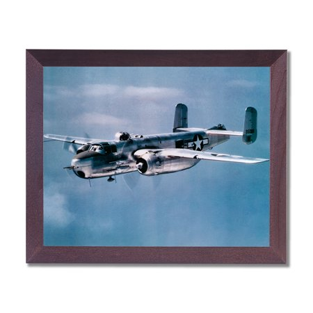 WWII Bomber Mitchell Jet Airplane Wall Picture Cherry Framed Art -