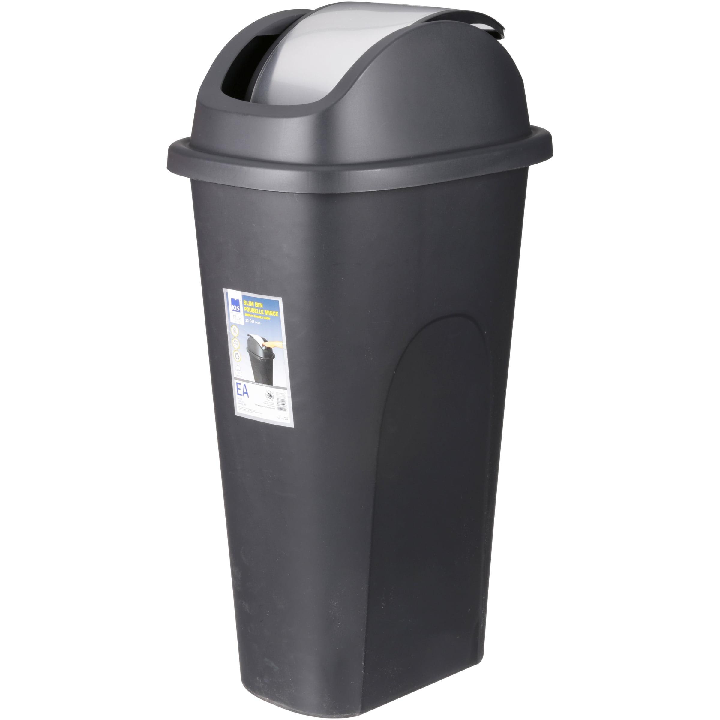 Beau Kitchen Wastebasket Trash Can Plastic Garbage Storage Bin W/Swing Lid Slim  11gal