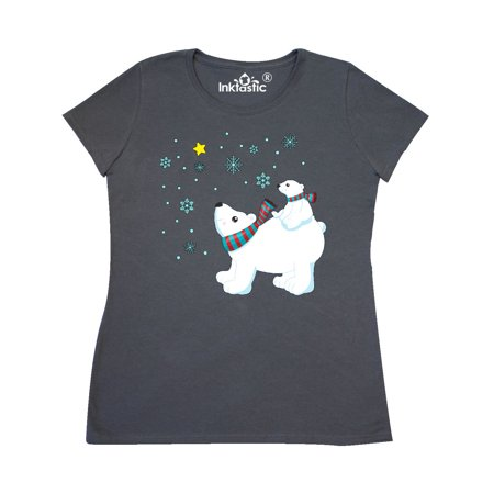 Christmas Polar Bear and Cub with a star Women's T-Shirt