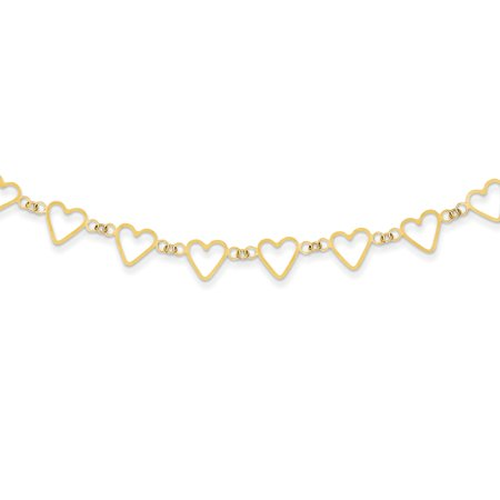 Yellow Gold Oval Cable Chain (14K Yellow Gold Oval Cable with Open Flat Hearts Necklace -16