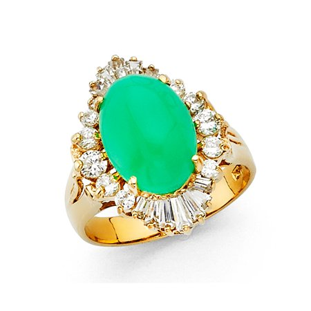Jewels By Lux 14K Yellow Gold Cubic Zirconia CZ and Natural Oval Shaped Jade Ring Size 5.5