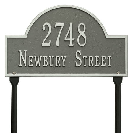 Personalized Whitehall Products Standard Lawn 2 Line Arch Marker in Pewter Silver