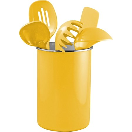 Enamel on Steel Utensil Holder & 5 Piece Utensil Set, Yellow, Set includes Spoon, Slotted Spoon, Ladle, Spaghetti Spoon, Spatula and Enamel holder By Reston Lloyd