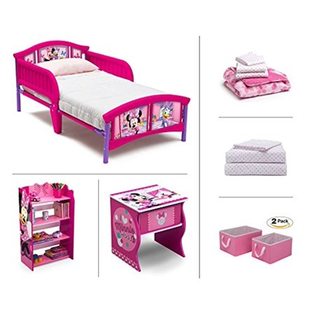 Disney Minnie Mouse 6-Piece Toddler Furniture Set (Toddler Bed | Bookcase |  Side Table | Bedding Set | Storage Bins | BONUS Sheet Set)