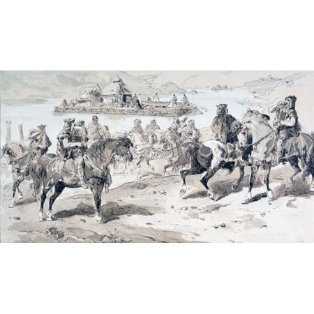 A Primitive Raft With Stern Oars Men On Horses Blowing Conches After A Watercolour By A Heins From Cortege Historique Des Moyens De Transport Published Brussels 1886 Stretched Canvas - Ken Welsh  Des