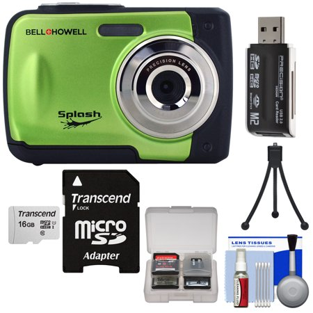 Bell + Howell Splash WP10 Shock + Waterproof Digital Camera (Green) with 16GB Card + Tripod + Reader + Kit