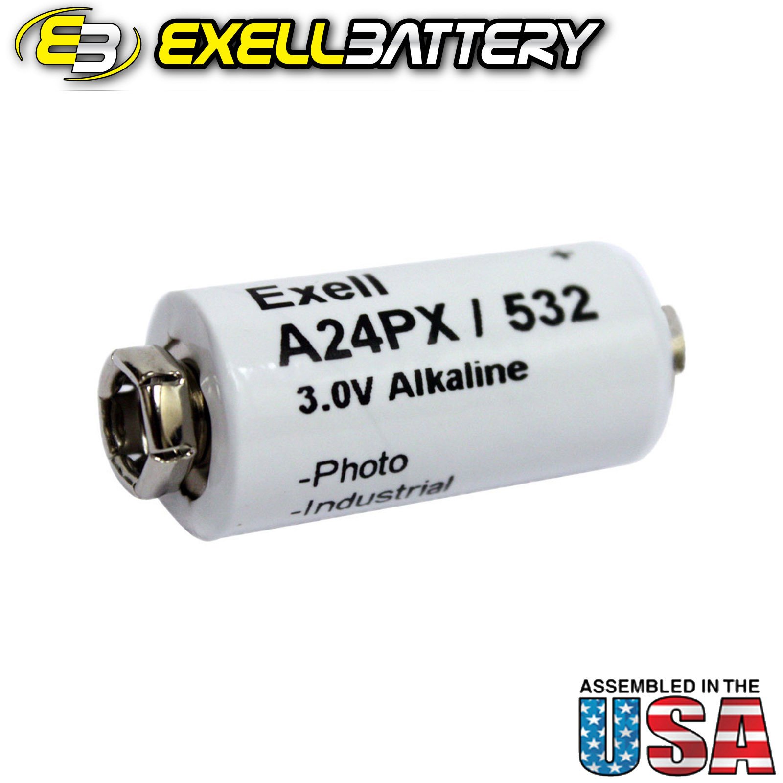 Exell Battery Alkaline Battery A24PX Replaces V24PX RPX24 532 PX24 EPX24 2LR50