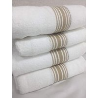 Koni White Hand Towels, Modal/Cotton with Tan Accent Band 20x35 inches (4pack)