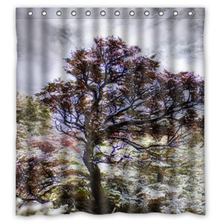 GreenDecor Winter Patagonia Tree Waterproof Shower Curtain Set with Hooks Bathroom Accessories Size 66x72 inches (Patagonia Tree)