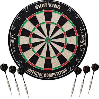 viper shot king sisal bristle steel tip dartboard with staple-free bullseye and 6 darts by