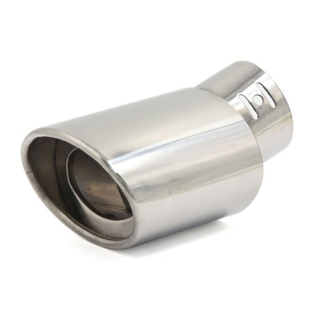 2 4  Inlet Dia Curved Angled Car Oval Outlet Exhaust Muffler Tail Pipe Trim Tip