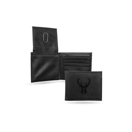 Milwaukee Bucks Laser Engraved Black Billfold Wallet - image 1 de 1