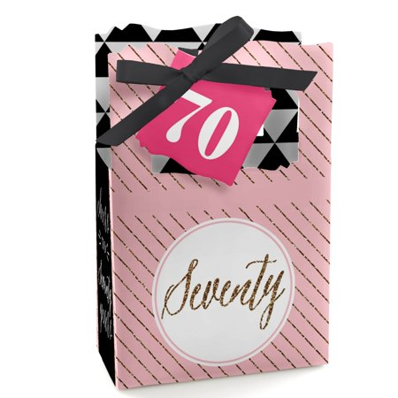 Chic 70th Birthday - Party Favor Boxes - Set of 12