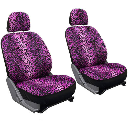 Oxgord Leopard Velour Bucket Seat Cover Set
