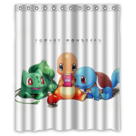 DEYOU Pokemon Pikachu Pocket Monsters Shower Curtain Polyester Fabric Bathroom Size 60x72 Inches
