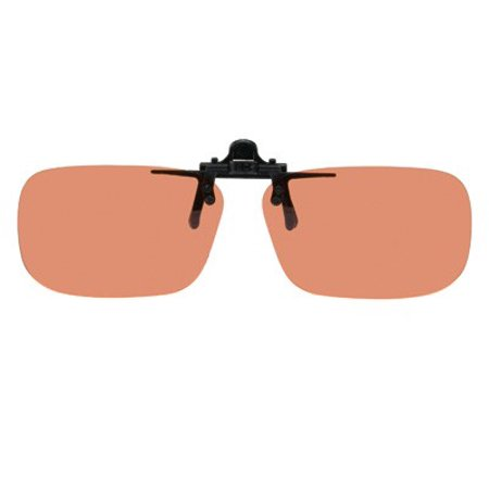 Polarized Clip-on Flip-up Plastic Sunglasses - Rectangle - 62mm X 39mm - Polarized Copper Lenses - Shade Control D-Clips
