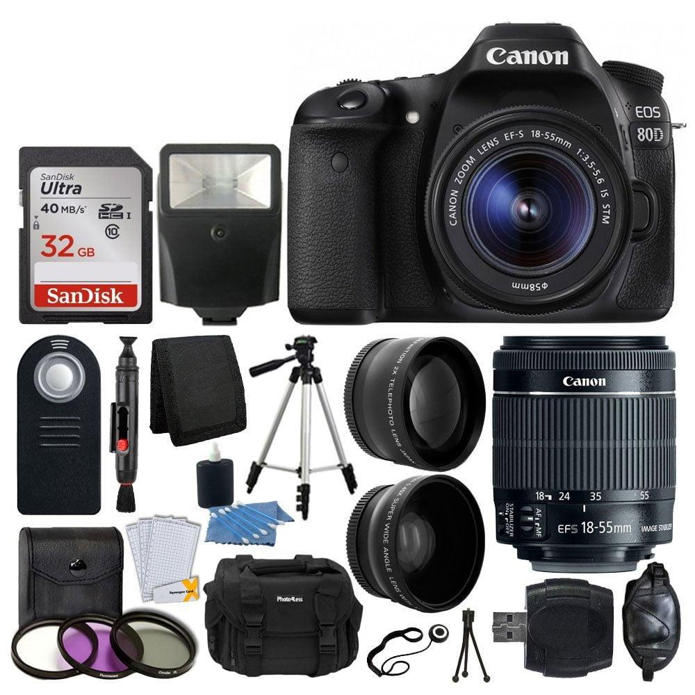 Canon EOS 80D DSLR Camera + 18-55mm IS STM Lens + Great Value Kit