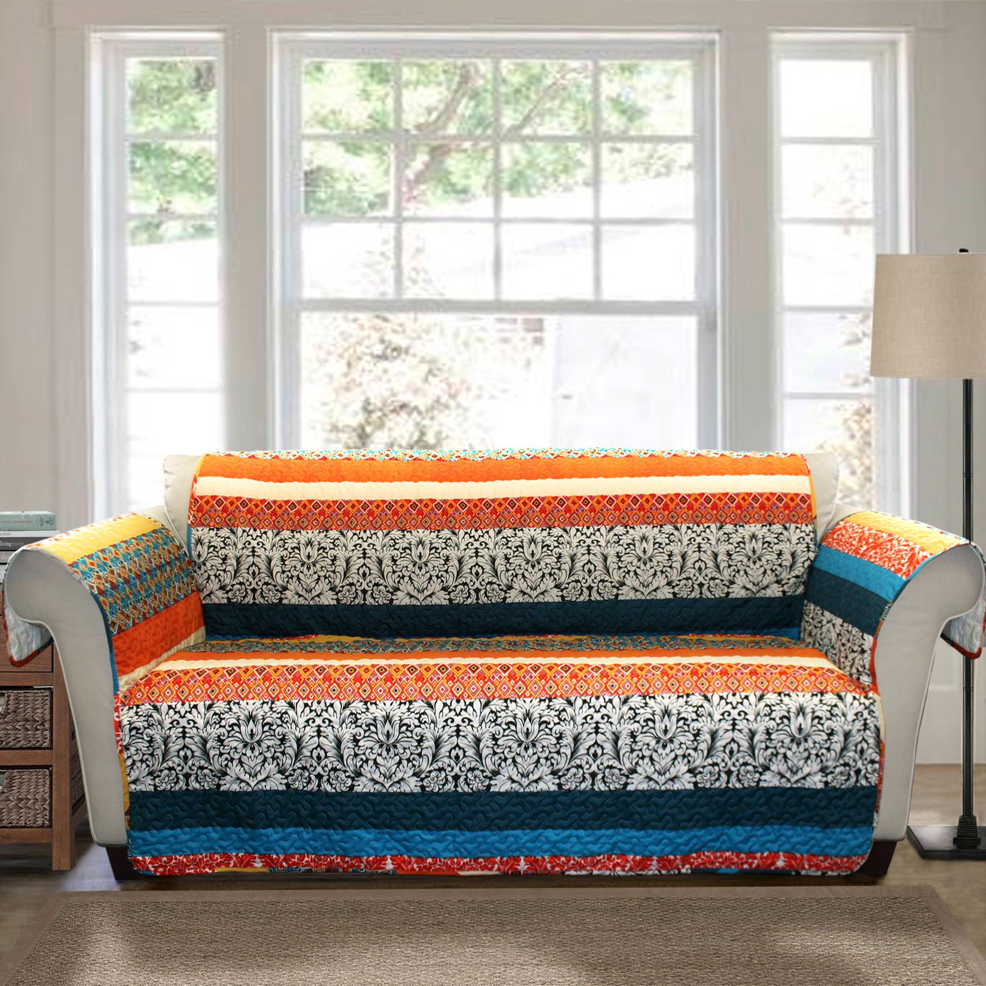 Boho Stripe Furniture Protector Turquoise Tangerine Walmart