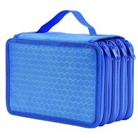 EEEKit High Capacity Pen Pencil Case Box Stationary Pen Pouch Bag Makeup Storage Bag(Blue)