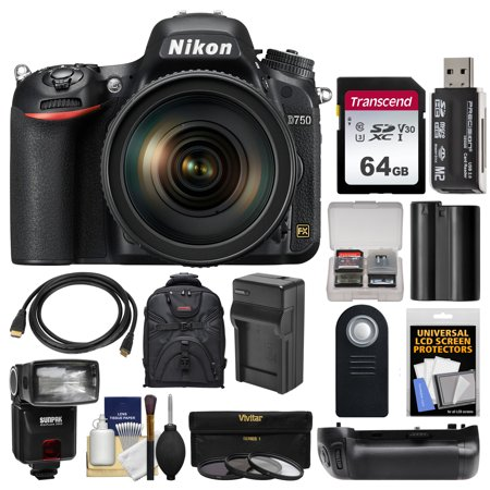Nikon D750 Digital SLR Camera + 24-120mm f/4 VR Lens with 64GB Card + Backpack + Flash + Battery + Charger + Grip + Filters +