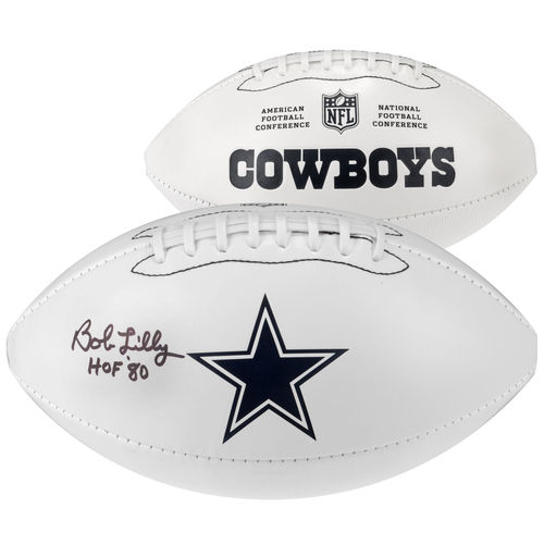 "Bob Lilly Dallas Cowboys Autographed White Panel Football with ""HOF 80"" Inscription"