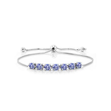 2.66 Ct Round Blue Tanzanite 925 Sterling Silver -